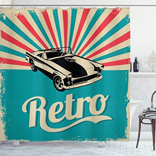 ABAKUHAUS Autos Duschvorhang, Klassische American Car, Leicht zu pflegener Stoff mit 12 Haken Wasserdicht Farbfest Bakterie Resistent, 175 x 200 cm, Sky Blue Hot Pink Schwarz