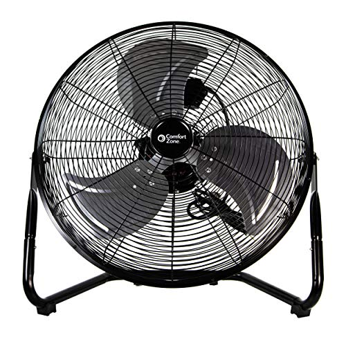 Comfort Zone CZHV20BK 20-inch 3-Speed High-Velocity Floor Fan with 360-Degree Adjustable Tilt