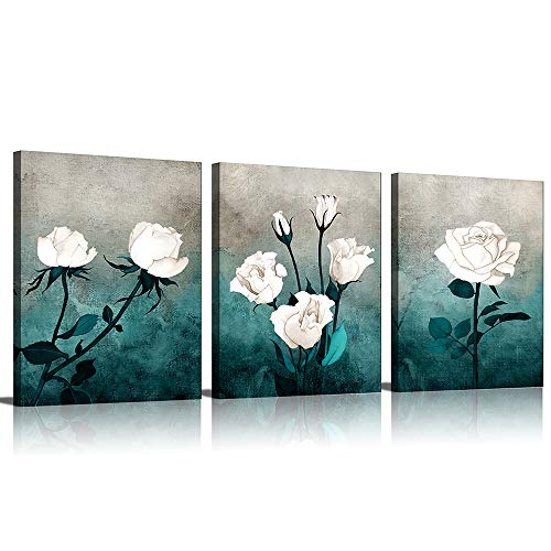 White Roses Canvas Wall Art Paintings Home Decorative Watercolor Flower Picture Canvas Prints Bathroom Wall Decor Living Room Bedroom Poster Artwork 3 Panels
