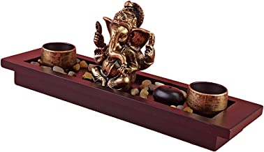 Generic Hindu God Lord Ganesha Statue Wooden Tray with Candle Holder Blessing Ganesh Sculpture Home Office Desktop Decor S...