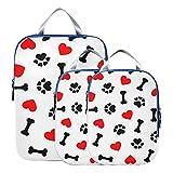 Accesorios de viaje Animal Dog Paw Print Bones Red Heart Accesorios de viaje Organizador de maleta expandible para equipaje de mano, viaje (juego de 3)