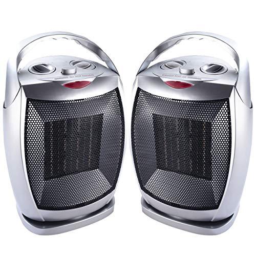 Neostar 2 x Oscillating Ceramic PTC Small Electric Fan Heater Free Standing...