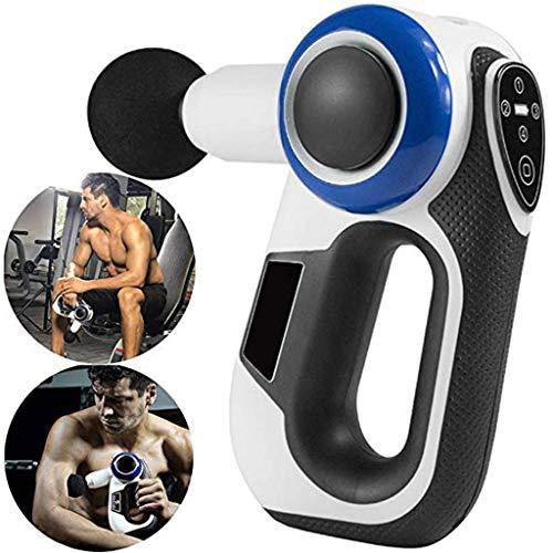 LLJXC Masajeador muscular de mano, pistola de masaje de vibración inalámbrica, masajeador profesional theragun, atleta, fitness, relajación de la profundidad muscular del arma de masaje, 4 cabezales d