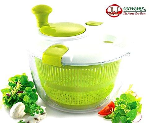 Uniware Professional Large Salad Spinner, Vegetable Spinner, Fruit Spinner, Pasta Spinner, Bright Green (Green)
