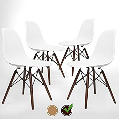 UrbanMod Eames Style Modern Dining Armless Side Chairs (Set of 4) Walnut Legs | Molded White ABS Plastic With Wood & Black Accents Iconic American Mid-Century Styling