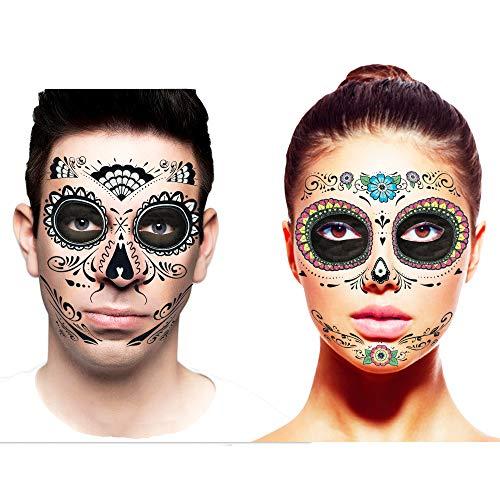 Kit de tatuajes temporales para parejas con maquillaje de base negra (juego de 2 kits de tatuaje facial de calavera de azúcar para Halloween, flores azules y diseños de tela de purpurina)