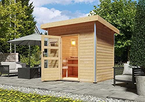 FinnTherm Saunahaus Pure aus Holz Gartensauna mit 38 mm Wandstärke Sauna Außensauna Pultdach