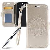 Kompatibel mit HTC ONE M8 Hülle,HTC ONE M8 Tasche,JAWSEU Lederhülle für HTC ONE M8 Handyhülle Wallet Hülle Flip Hülle Brieftasche,Mandala Blumen Muster PU Leder Tasche Flip Hülle Gold
