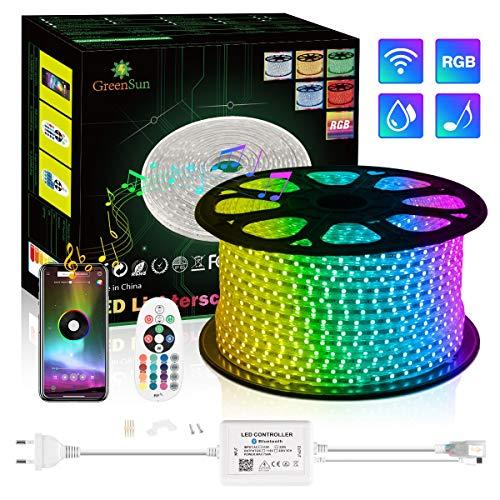 LED Strip, 30M RGB LED Streifen GreenSun Flexible RGB-Lichtbänder Multi-Farbwechsel mit 24-Tasten-Bluetooth-Fernbedienung für die Weihnachtsdekoration im Freien