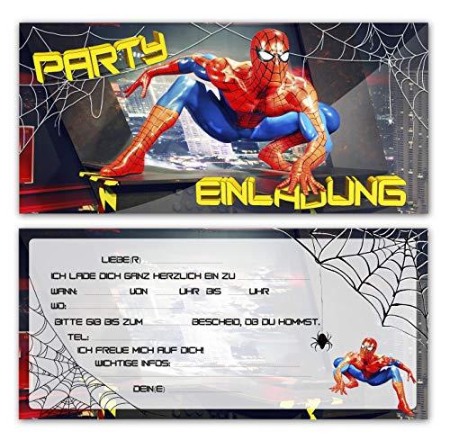 Einladungskarten zum Geburtstag der ultimative Spiderman Kinder Junge Teenager Mädchen Einladung Kindergeburtstag im Set 8 Karten + 8 Umschläge rot Motto Party