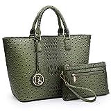 Women's Handbag Vegan Ostrich Leather Tote Shoulder Bag Top Handle Satchel Purse with Matching Wristlet (Army Green)