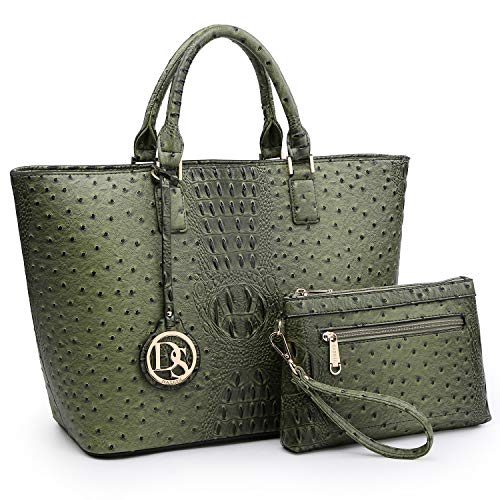 Women's Handbag Vegan Ostrich Leather Tote Shoulder Bag Top Handle Satchel Purse with Matching Wristlet (Army Green)