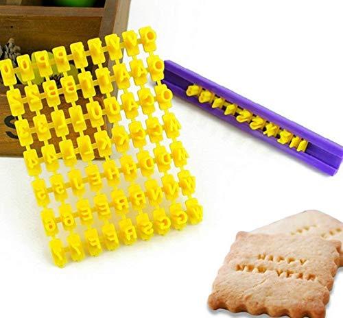 Juego de 72 piezas de alfabeto número y letra de galleta de galleta sello repujado cortador Fondant DIY herramienta