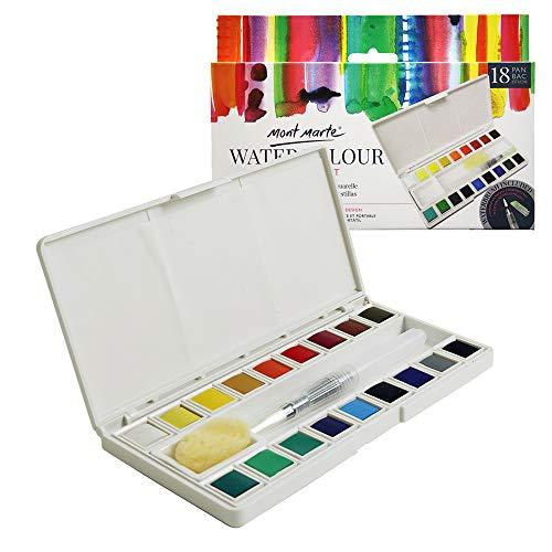 Mont Marte Aquarellfarben Set - 18 Farben - Inklusive Wassertankpinsel und Schale - Brillante Farben - Hohe Pigmentierung - Ideal für Aquarellmalerei - Perfekt geeignet für Anfänger und Profis