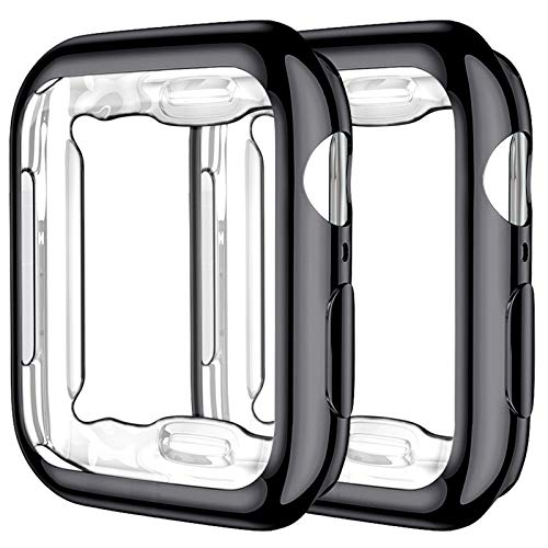 Upeak 2 Paquetes Compatible con Apple Watch Series SE/6/5/4 Funda 40mm, TPU Protector de Pantalla Compatible con iWatch, Negro/Negro