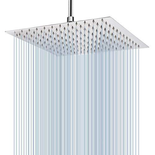 Rain Shower Head, 12 Inch Large Rainfall Showerhead, Stainless Steel 304 - Luxury Modern Look - Easy...
