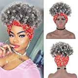 AISAIDE High Puff Afro Ponytail Drawstring Turban Wrap Wig 2 in 1,Short Kinky Curly Ponytail Synthetic Bun Hair Updo Hairpiece High Puff Ponytail Hair Extensions for Women(1B/GREY)