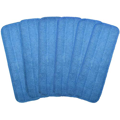 "Microfiber Replacement Mop Pad, 18"" x 6"" Wet & Dry Home & Commercial Cleaning Refills, Reusable Floor Mop Pads (6 Pack)"