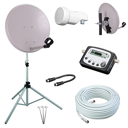 netshop 25 Digital Camping SAT Anlage 40 cm Spiegel + Digitaler SAT Finder + HD Single LNB + 10m Kabel + Dreibein-Stativ