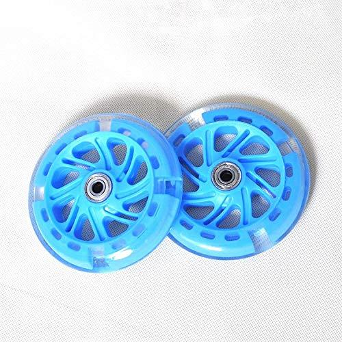 SIRENK Ruedas de reemplazo de Scooter con rodamientos, Ruedas de Scooter LED de 120 mm - Reemplazo para Scooters de Patada/maquinilla de Afeitar - Azul