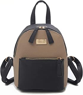 ZYL Nylon Fashion Sports PU Leather Contrast Color Backpack (Color : Khaki Color, Size : 201424cm)