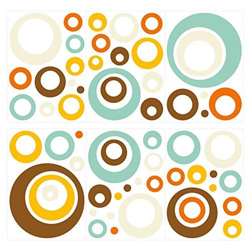 dekodino® Wandtattoo Retro Kreise blau orange braun 60 Stück Wohnzimmer Deko