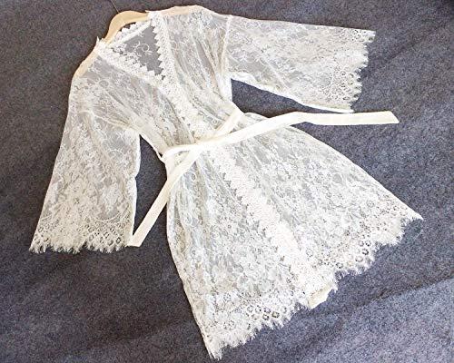 Bata de encaje blanco Mujeres Kimono Bata-Bata nupcial Regalo nupcial Regalo de dama de honor Fiesta nupcial Bata Regalo nupcial