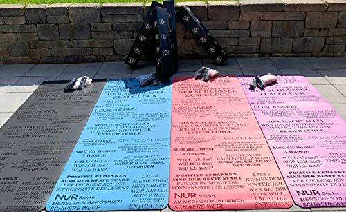Yogamatte grau mit Motivation Sprüche | rutschfest schadstofffreischnelltrocknend | 185x68cm groß 5mm dünn | inklusive Zubehör Trage-gurtHandtuch Baumwolle | Gymnastikmatte Jogamatte Sportmatte