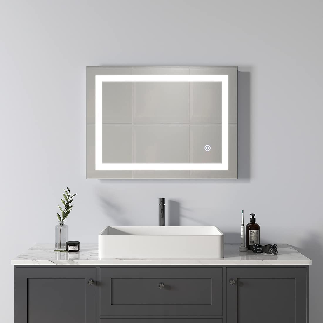 SIEPUNK 24 x 32 Inch LED Mirrors for Bath Bathroom Dimmable Wall Philadelphia Brand new Mall