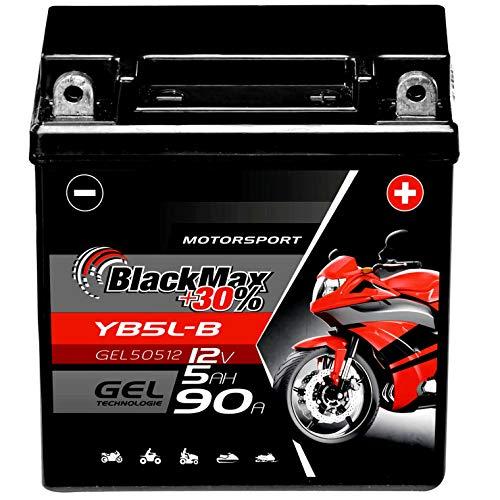 BlackMax YB5L-B Motorradbatterie GEL 12V 5Ah 90A CB5L-B Batterie 50512 12N5.5-3B