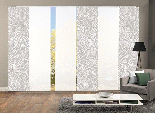 Home Fashion 96533 | 6er-Set Schiebegardinen Madera | blickdichter Dekostoff & transparenter Halborganza | Farbe: Natur | 6X jeweils 245x60 cm