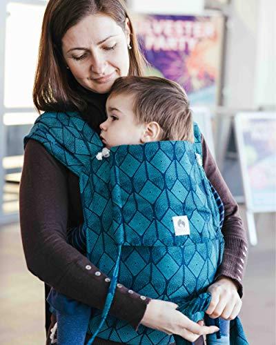 LIMAS Babytrage Halfbuckle | 50-86 cm | Bauchtrage & Rückentrage & Hüfttrage | ab Geburt bis Kleinkindalter | Baby Carrier | Pava Ocean