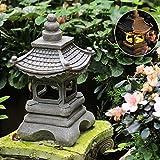 HLONGG Japanische Steinlaterne WunderschöNe Gartenlampe Solar Zen Garten Laterne Lichter Japanischer Laterne Garten Pagode Licht Gartendeko