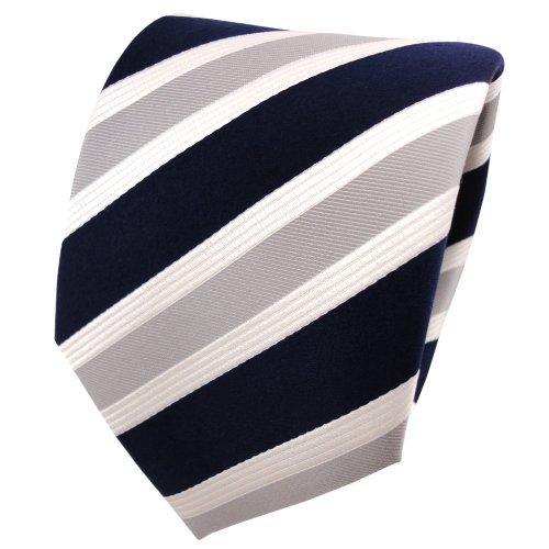 Designer zijden das blauw donkerblauw grijs zilver crème gestreept - stropdas zijde