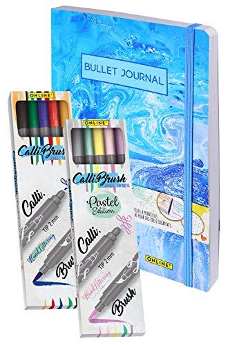 ONLINE Brush-Lettering Set | Bullet Journal & 10 Calli.Brush Pens | Handlettering Double-Tip Brush Pens, Kalligrafie- & Pinstel-Spitze | Notizbuch DIN A5, 192 Seiten dotted | Tagebuch mit Punktraster