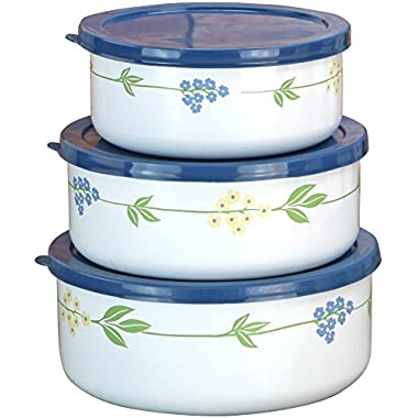 Corelle Coordinates by Reston Lloyd 6-Piece Enamel on Steel Bowl/Storage Set, Secret Garden