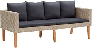 vidaXL 2-Seater Garden Sofa with Cushions Outdoor Patio Seating Lounge Seat Sitting Furniture Powder-coated Steel Fabric P...