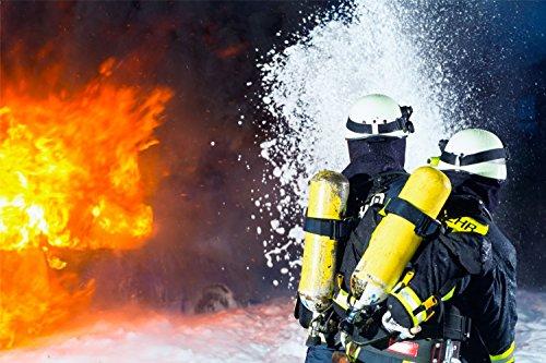 Feuerwehr Feuer löschen Bild XXL Wandbild Kunstdruck Foto Poster P1125 Größe 90 cm x 60 cm