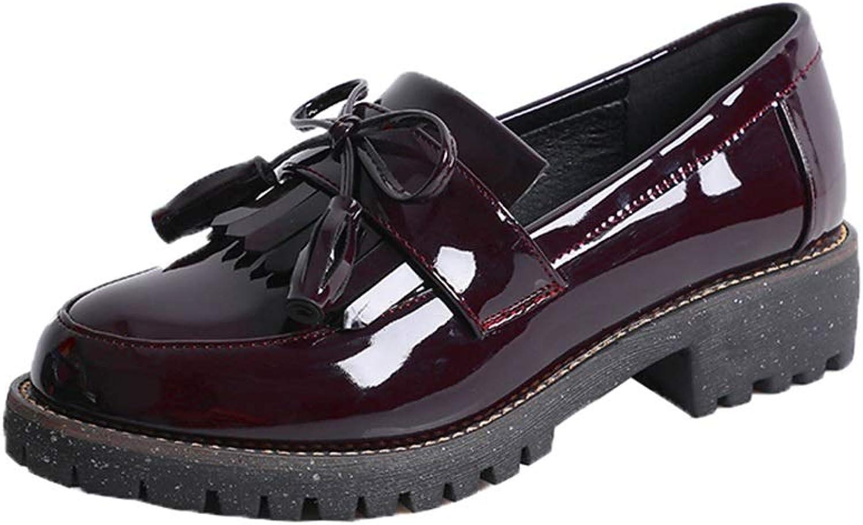 Women's Vintage British Microfiber Leather Mid-Heel shoes Solid color Loafer shoes (color   Red, Size   39 EU)