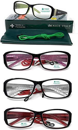 Gafas de presbicia, lectura, ver de cerca Mujer PACK 4 UNIDADES Diseño en Colores, VENICE NIZA (PACK 4 UNIDADES, 1,00)