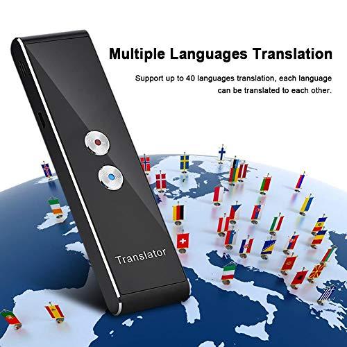 ASHATA Smart Sprachübersetzer,Tragbar Mini 2,4G Wireless Intelligenter Bluetooth Sprachübersetzer,Mehrsprachige Reiseübersetzer Zweiweg Echtzeit Translator für Lernen Business Reisen usw.
