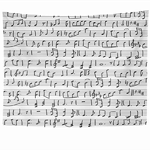 Tapices para colgar en la pared Crotchets Manuscrito negro Notas musicales Signos Orquesta Sketch Clave de sol Símbolos Hoja Nota Texturas Tapiz Manta de pared Decoración del hogar Sala de estar Dormi