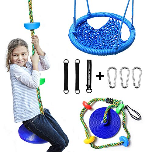 2 Pack Tree Swing Climbing Rope with Platforms and Disc Swings Seat, Swingsets Accessories Outdoor...