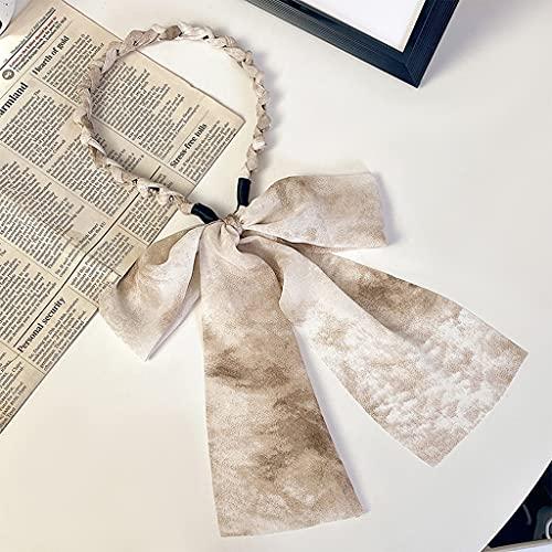 SSMDYLYM Coreano Lacebowtie Hairband para Las Mujeres niñas Long Ribbon Streamer Headband Super Fairy Fashion Accesorios para el Cabello (Color : B)