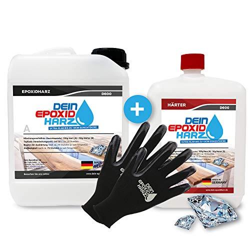 Dickschicht - Epoxidharz mit Härter   4,5kg Set   Profi Qualität, ultraklar & geruchsarm   10cm in einem Guß + Schutzhandschuhe
