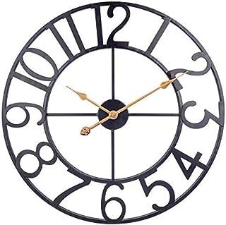 ساعت دیواری فلزی بزرگ ، ساعت دیواری عربی روباز 24 اینچ صنعتی ، ساعت دیواری داخلی باتری خاموش برای اتاق نشیمن ، اتاق ناهار خوری ، خانه ، خانه مزرعه - مشکی