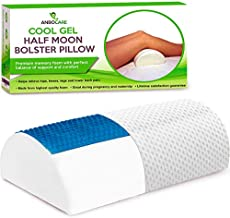 AnboCare Half Moon Bolster Pillow for Legs - Semi Roll Under Knee Pillow for Sleeping on Back - Cooling Gel Memory Foam Relief Neck, Lumbar and Lower Back Pain - Halfmoon Leg Support for Side Sleepers