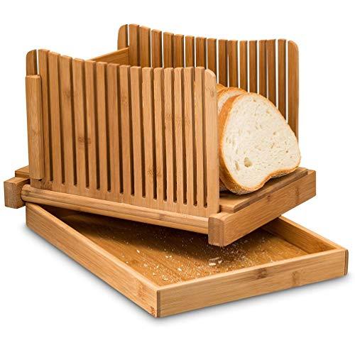 Hemoton Cortadora de Pan de Bambú Tabla de Cortar Plegable Compacta Cortadora de Pan Casera con Bandeja para Servir Y Recoger Migas para Sándwich de Tostadas de Cocina Casera (Marrón