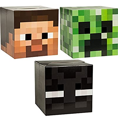 Official Minecraft Steve Creeper Enderman Head Set