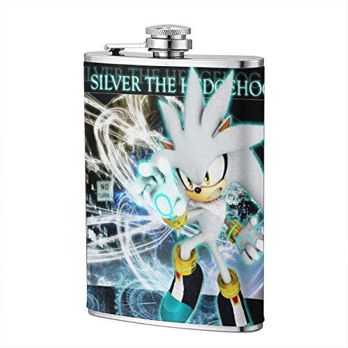 XBYC Silver Hedgehog Flask Taschenflasche Flagon mit Ledertasche Trip Geschenk Edelstahl Flagon 8OZ Outdoor Flagon mit PU Leder Leakproof Flagon